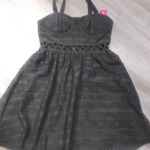 Xhilaration Gray Lace Dress Sz M New